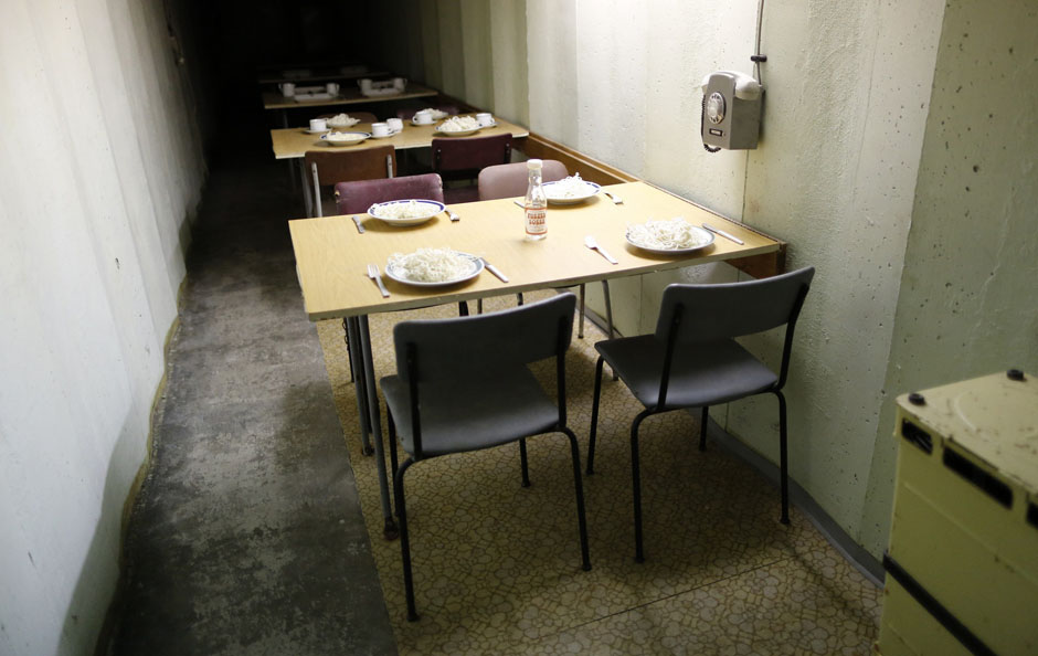 A dining room is pictured at the 'Bunker-Museum' in Rennsteighoehe near the eastern city of Ilmenau