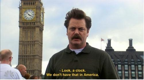 ron swanson look a clock