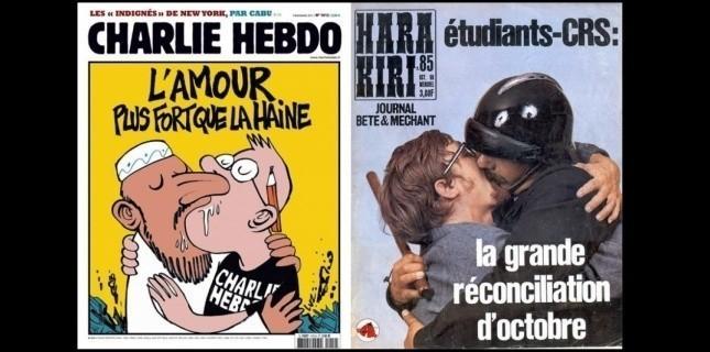 """Αριστερά: Charlie Hebdo - 2011, """"Η αγάπη είναι ισχυρότερη απ' το μίσος"""" Δεξιά: Hara Kiri - Οκτώβριος 1968, κριτικάροντας την κατάσταση μετά την εξέγερση του Μαϊου """"Η μεγάλη συμφιλίωση του Οκτωβρίου"""""""