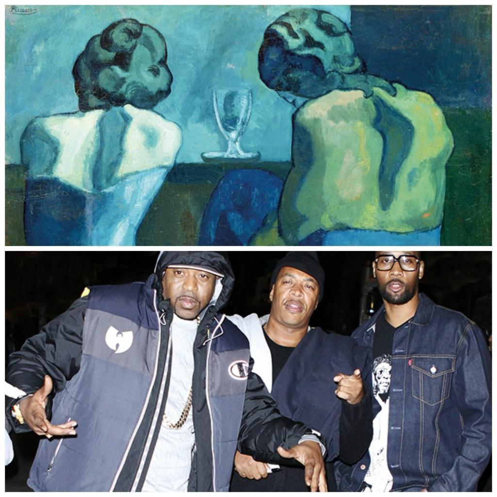 Πάνω: Έργο από την Μπλε περίοδο του Πικάσο. Κάτω: Cappadonna, U-God και RZA από την Μπλε περίοδο των Wu-Tang Clan