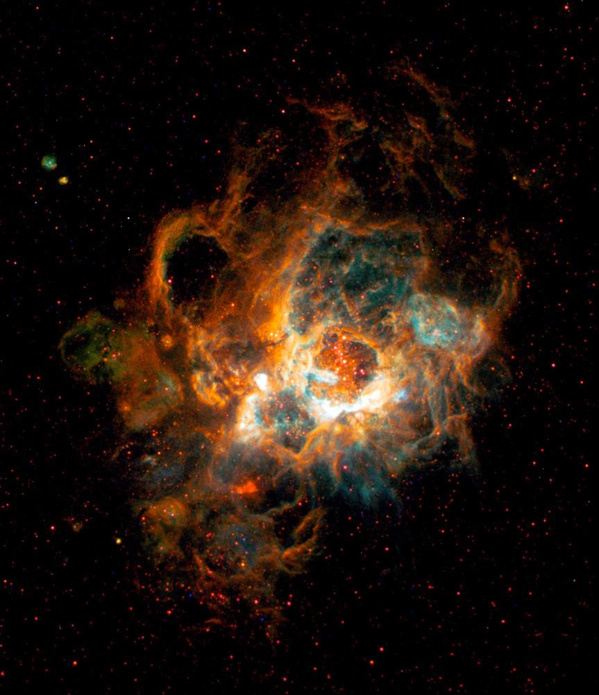 Σύννεφα  αερίου στο νεφέλωμα NGC 604 του γαλαξία Μ33. Στο κέντρο βρίσκονται πάνω από 200 αστέρια, 15 με 60 φορές μεγαλύτερα απ'τον Ήλιο (γενικά ο Ήλιος δεν είναι και τίποτα τρελό, απλά το'χουμε κάνει θέμα επειδή μας δίνει το δώρο της Ζωής