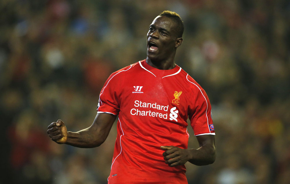 Liverpool's Balotelli celebrates scoring a goal against Ludogorets during their Champions League soccer match at Anfield in Liverpool