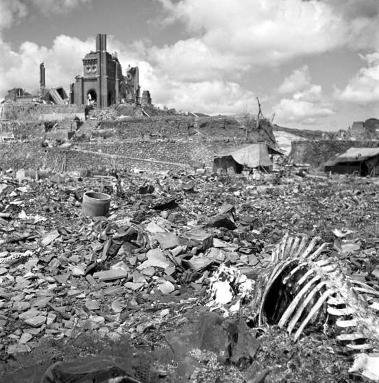 Not published in LIFE. The landscape around Urakami Cathedral, Nagasaki, September, 1945.