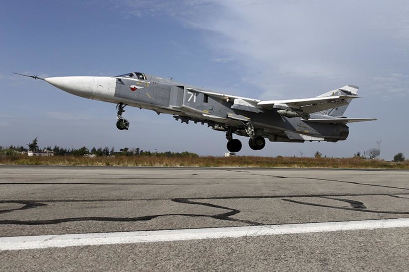 A Sukhoi Su-24 fighter jet takes off from the Hmeymim air base near Latakia, Syria, in this file handout photograph released by Russia's Defence Ministry October 22, 2015. REUTERS/Ministry of Defence of the Russian Federation/Handout via Reuters/Files