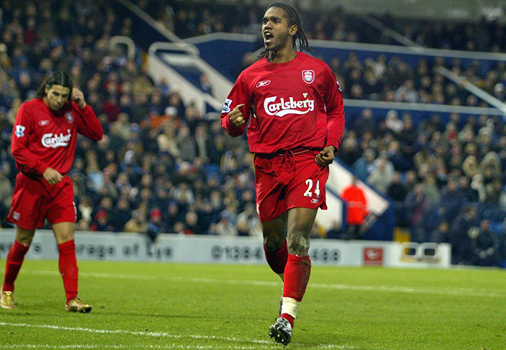 Football - West Bromwich Albion v Liverpool - FA Barclays Premiership - The Hawthorns - 04/05 ,  26/12/04 Florent Sinama Pongolle  - Liverpool celebrates his goal for 0-2 Mandatory Credit: Action Images / Michael Regan NO ONLINE/INTERNET USE WITHOUT A LICENCE FROM THE FOOTBALL DATA CO LTD. FOR LICENCE ENQUIRIES PLEASE TELEPHONE +44 207 298 1656.