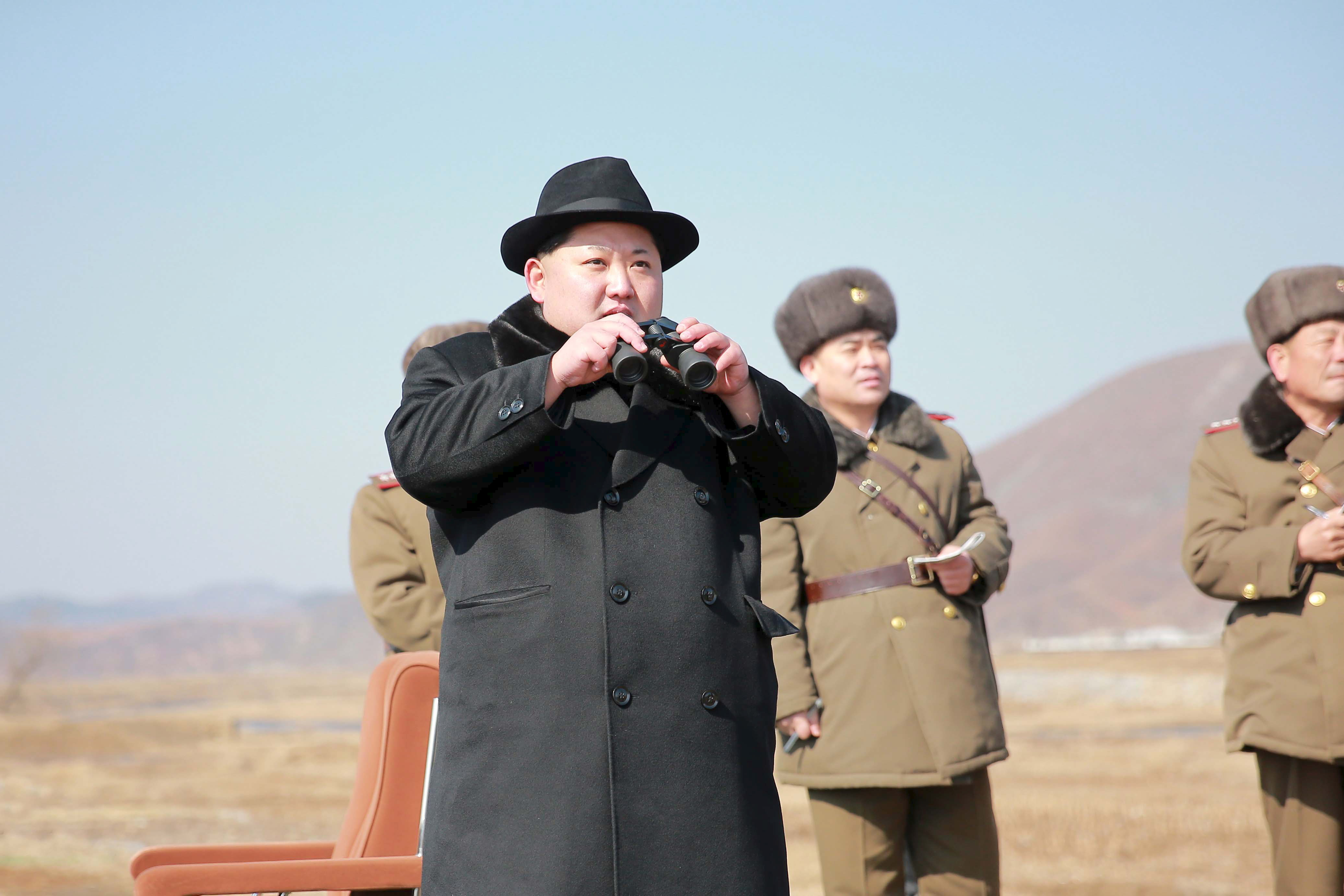 North Korean leader Kim Jong Un inspects a flight drill of fighter pilots from the Korean People's Army's (KPA) Air and Anti-Air Force, in this undated photo released by North Korea's Korean Central News Agency (KCNA) in Pyongyang on February 21, 2016. REUTERS/KCNA ATTENTION EDITORS - THIS PICTURE WAS PROVIDED BY A THIRD PARTY. REUTERS IS UNABLE TO INDEPENDENTLY VERIFY THE AUTHENTICITY, CONTENT, LOCATION OR DATE OF THIS IMAGE. FOR EDITORIAL USE ONLY. NOT FOR SALE FOR MARKETING OR ADVERTISING CAMPAIGNS. THIS PICTURE IS DISTRIBUTED EXACTLY AS RECEIVED BY REUTERS, AS A SERVICE TO CLIENTS. NO THIRD PARTY SALES. SOUTH KOREA OUT. NO COMMERCIAL OR EDITORIAL SALES IN SOUTH KOREA. - RTX27VMH