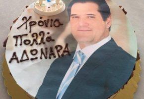 Στα γενέθλια του Άδωνι Γεωργιάδη έφεραν τρεις επικές τούρτες: Με την Ιλιάδα, την Οδύσσεια και τη μάπα του (PHOTOS)