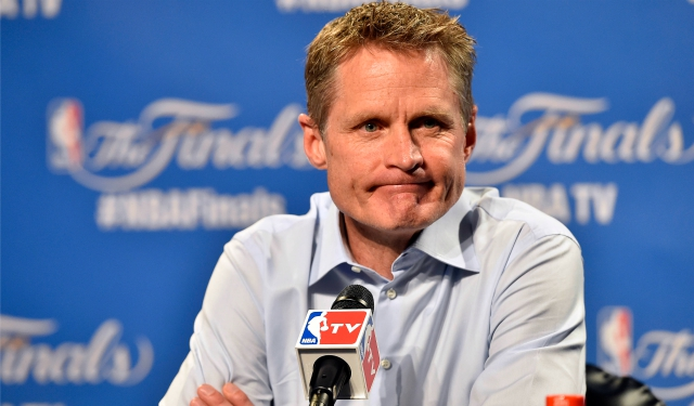 Jun 16, 2015; Cleveland, OH, USA; Golden State Warriors head coach Steve Kerr talks to the media before game six of the NBA Finals against the Cleveland Cavaliers at Quicken Loans Arena. Mandatory Credit: David Richard-USA TODAY Sports